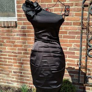 Women's black Caché Dress one shoulder